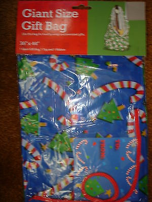 "Giant Christmas Gift Bag Blue With Candy Canes 36"" X 44"""