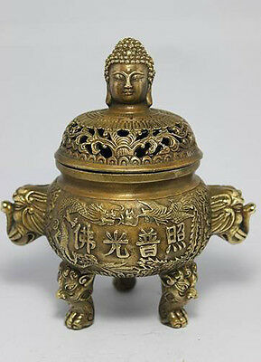 Chinese Folk Collection Old Bronze Copper Buddha Dragon Incense Burner Censer