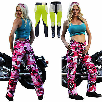 LADIES KEVLAR® JEANS MOTORCYCLE PINK CAMO REINFORCED WITH DuPont™  6 -20