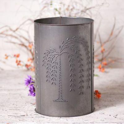 Country new Handcrafted blackened punched TIN WILLOW wastebasket /Nice