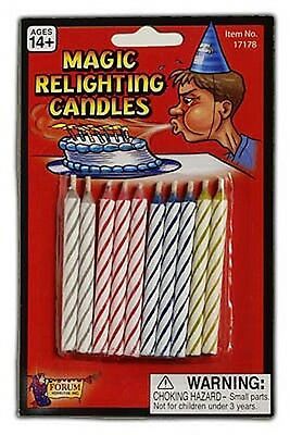 10 x RELIGHTING FUN NOVELTY BIRTHDAY CANDLES Wicca Goth Pagan Witch SPELL CANDLE