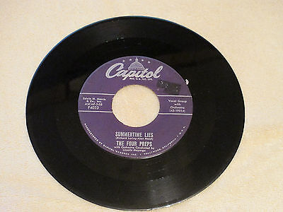 The Four Preps Capital 45 Record 4023 VG Lazy Summer Nights / Summertime Lies