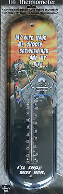 Nostalgic Tin Thermometer Wife Funny Biker  Motorcycle Decor Indoor Outdoor Home