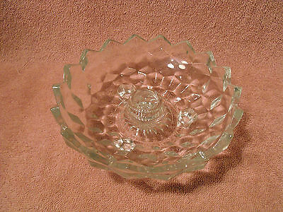 Indiana Glass Cube Cubist Sawtooth Footed Candle Holder  Clear Glass