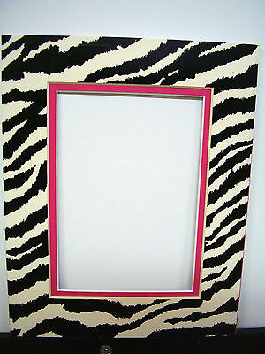 Picture Frame Double Mat 8x10 for 4x6 photo Zebra Black White Hot Pink animal