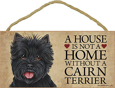 Cairn Terrier Indoor Dog Breed Sign Plaque – A House Is Not A Home Black + Bo...