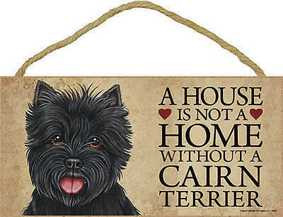 Cairn Terrier Indoor Dog Breed Sign Plaque - A House Is Not A Home Black + Bo...