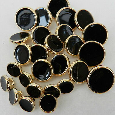 5 x dress shirt buttons black with gold rim 8mm 10mm 15mm & 18mm shank on back *