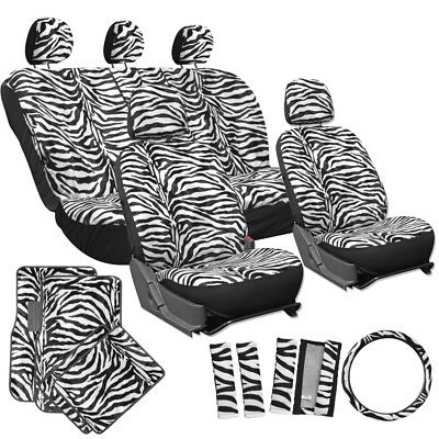 21PC Set Black Faux Leather Car Seat Covers with Rubber Floor Mat ...