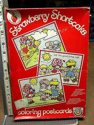 STRAWBERRY SHORTCAKE coloring postcards 1981 crayons Craft Master OG