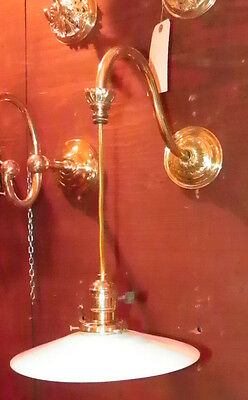 Antique Industrial Brass Wall Sconce With Milk Glass Shade 5471