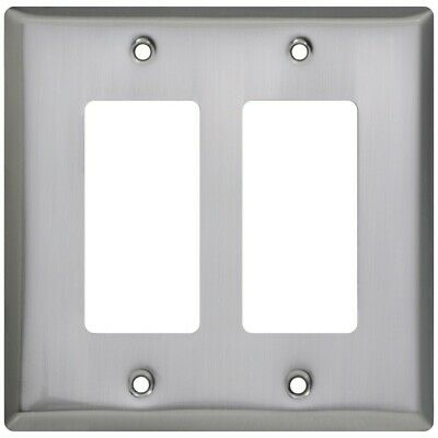 Basic Double Rocker Or Gfi Wall Plate Satin Nickel