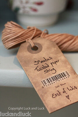 East of India Twisted Brown Paper String for Vintage Style Labels & Wrapping 30m