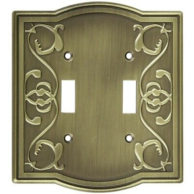Victoria Double Switch Wall Plate Antique Brass