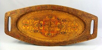 1900 ANTIQUE BALKANS FOLK ART WOOD TREEN PYROGRAPHY PAINTED SERVING TRAY PLATTER