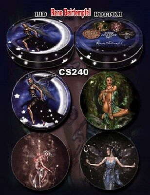 Renee Biertempfel Fairy Faery Set of 4 Coasters Tin Box Moon Stars Green Wtich +