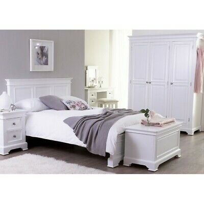 Reims French White Painted Bedroom Furniture Double Bed 4ft 6 & Two Bedsides Set