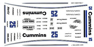 #25 Al Unser Cummins Special 1987 INDY 1/24th - 1/25th Scale Waterslide Decals