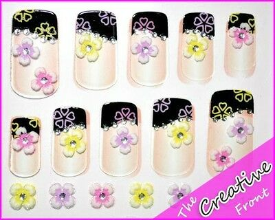 100 x NAIL STICKERS WHOLESALE - FLOWER HEARTS 3D & MORE - NAIL ART DECALS - NEW