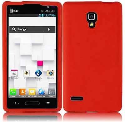 For T-Mobile LG Optimus L9 Rubber SILICONE Soft Gel Skin Case Phone Cover Red