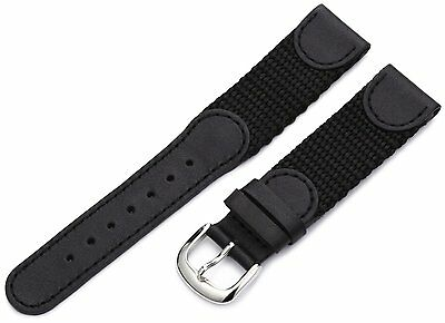 Hadley Roma Genuine Leather Canvas Textile Swiss Army Style Black Watch Band