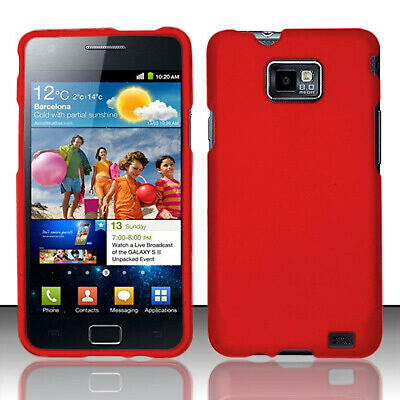 Straight Talk Samsung Galaxy S II 2 S959G Rubberized HARD Case Phone Cover Red