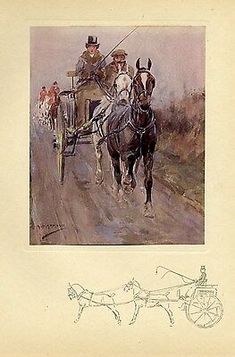 Horses Tandem, Two In Hand, Coaching, Antique 1909 Color Print, Whip, Harness
