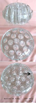 "Vintage GLASS FLOWER FROG,Heavy,16 Holes,3 7/8""Diam.,Clear"