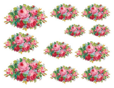 Vintage Image Pink Red Shabby Roses Bouquet Transfers Waterslide Decals FL136