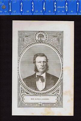 HON. DAVID SANDERS GOODING-Indiana Judge 1876 Wood Engraved Print