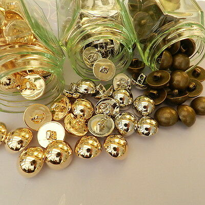 5 x dome buttons bronze silver or gold colour 12mm 15mm 21mm  shank on back *