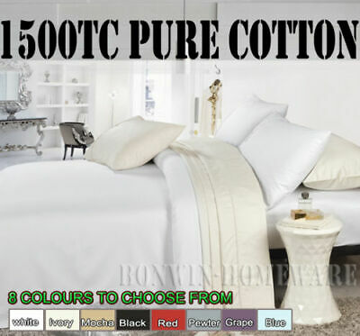 Hotel Quality 1500TC 100% Egyptian Cotton Fitted Flat Sheet Cases Set 9 Colours