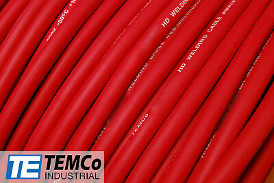 WELDING CABLE 1/0 RED 25' FT BATTERY LEADS USA NEW Gauge Copper AWG