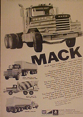 1971 Model Products MPC Mack Truck~Rex Mixer~Tractor~Gravel Trailer Kits~Toy AD