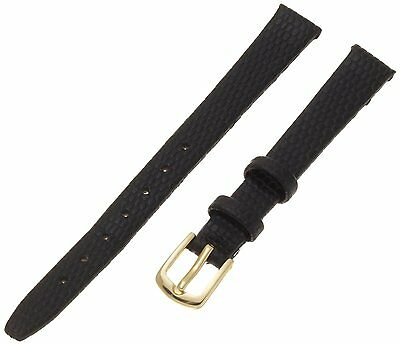 Hadley-Roma Genuine Leather Lizard Grain Black Ladies Watch Band Strap LS706 RA