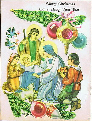 Vintage Holy Land Christmas Card Nativity Scene Virgin Mother Mary Baby Jesus
