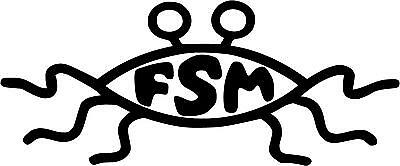"""FSM Flying Spaghetti Monster Decal 2.5""""x6"""" choose color!"""