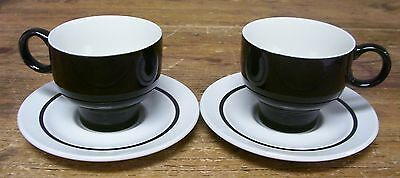 J & G  JG Meakin White Black Band 2 Cups 2 Saucers Ironstone England
