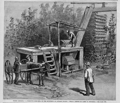 Corn Mill At Mountains Of Jackson County, North Carolina, Antique, 1883 History