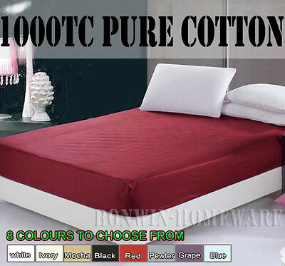 1000Tc 100% Egyptian Cotton Collect 40Cm Wall Fitted / Bottom Sheet  8 Colours