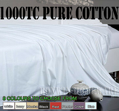 1000Tc 100% Egyptian Cotton Collection Flat / Top Bedding Sheet  8 Colours