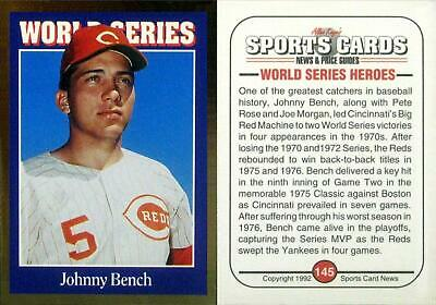 1992 Sports Cards Johnny Bench - Cincinnati Reds - Hall of Fame - NEAR MINT