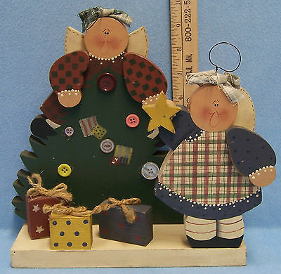 Handcrafted Wooden Country Angel & Christmas Tree Free Standing Table Decoration