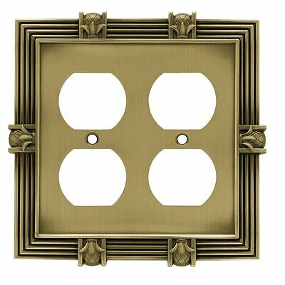 64468 Tumbled Antique Brass Pineapple Double Duplex Outlet Cover Plate