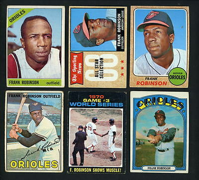 Frank Robinson lot of 6 Topps cards 1966 # 310 1967 #100 1968 # 500 1972 Orioles