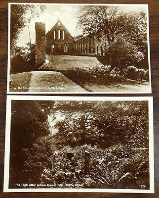 High Altar & Ancient Dormitory Battle Abbey Sussex England 2 RP Photo Postcards