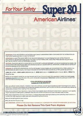 Safety Card - American - Super 80 MD-80 - 1999 - Demo Photos (S1447)
