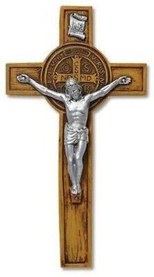 Catholic Gift Woodtone Resin Saint Benedict Crucifix Evil Protection Wall Cross