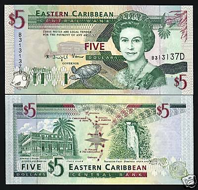 EAST CARIBBEAN STATES ST.LUCIA $5 P31L 1994 QUEEN TURTLE UNC GB UK SCARCE NOTE