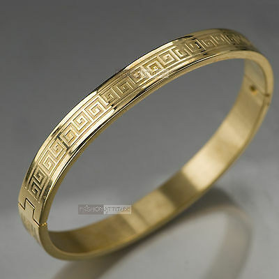 Yellow Gold Bracelet Bangle Stainless Steel Polished Greek Patterns Mens Womens